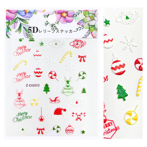 Embossed 3D Nail Art Sticker / Merry Christmas Holiday Manicure