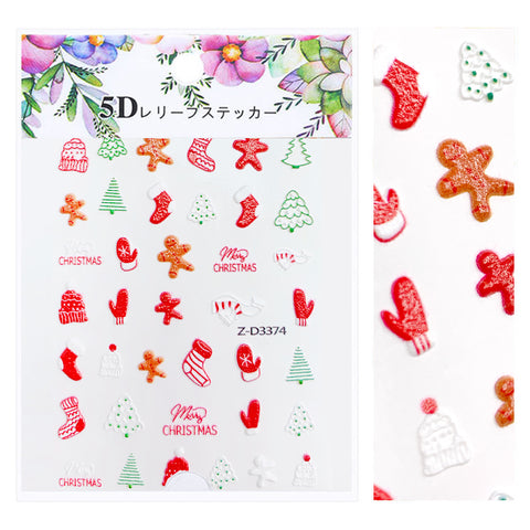 Embossed 3D Nail Art Sticker / Gingerbread Men Christmas Holiday