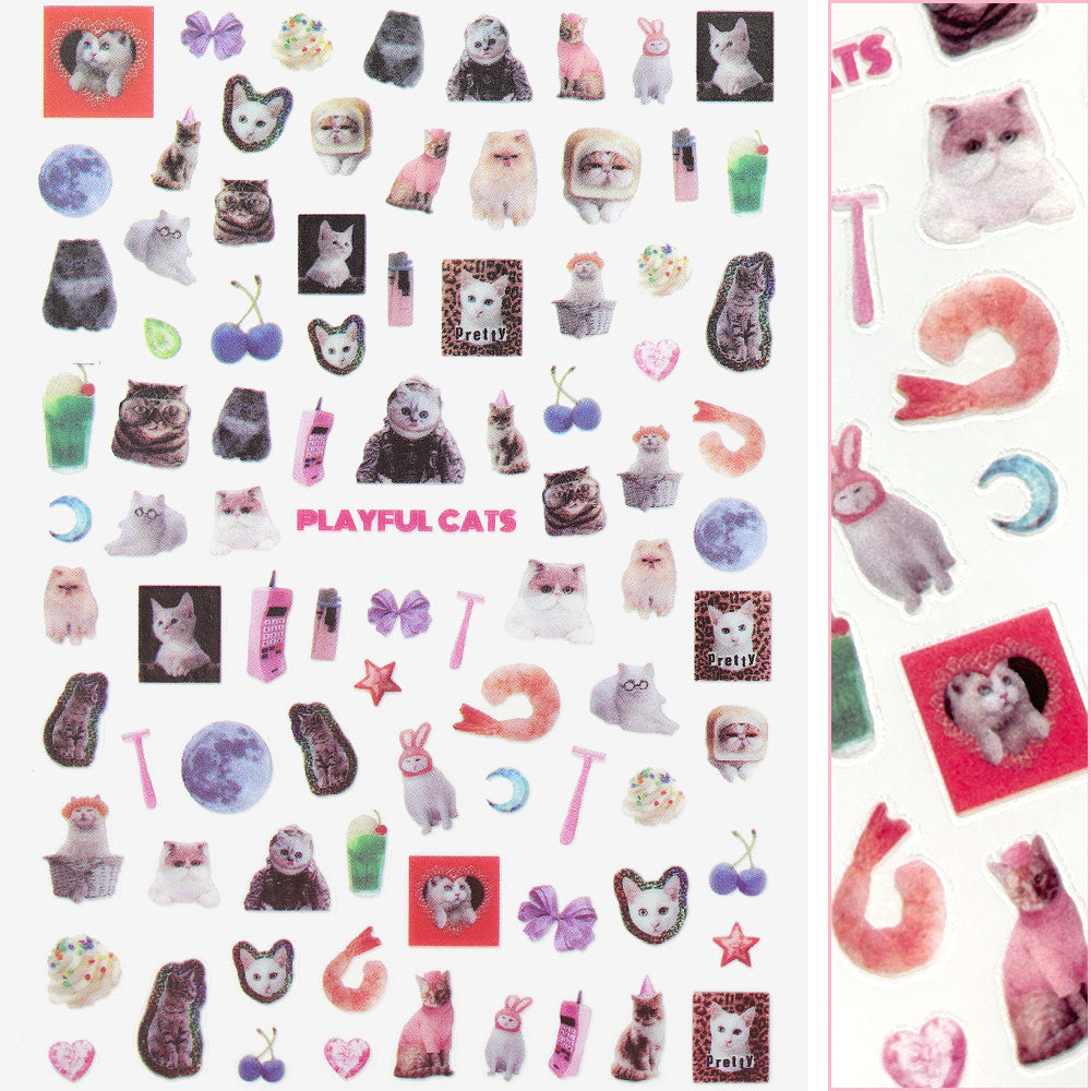 Furry Friends Nail Art Sticker / Playful Cats Design