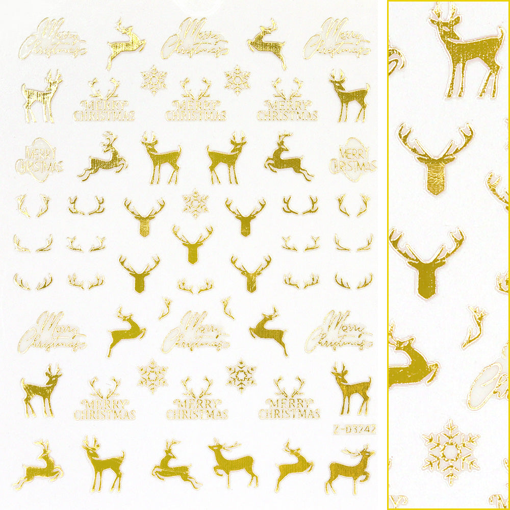 Gold Christmas Nail Art Sticker / Reindeer & Antler Holiday Nails