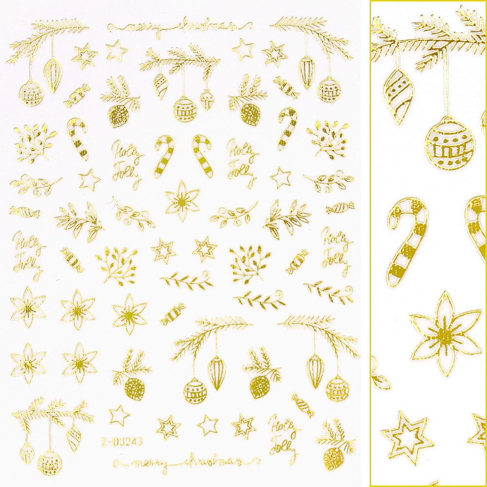 Gold Christmas Nail Art Sticker / Holly Jolly Garland Poinsettia