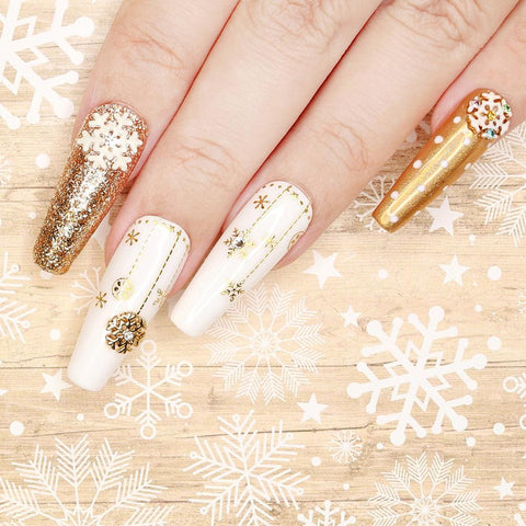 Gold Christmas Nail Art Sticker / Snowflakes & Baubles