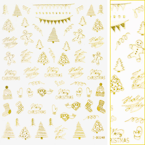 Gold Christmas Nail Art Sticker / Cozy Xmas Mittens Gingerbread Man Socks