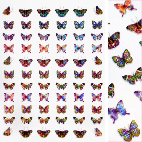 Holographic Butterfly Nail Art Sticker / Kaleidoscope Rainbow