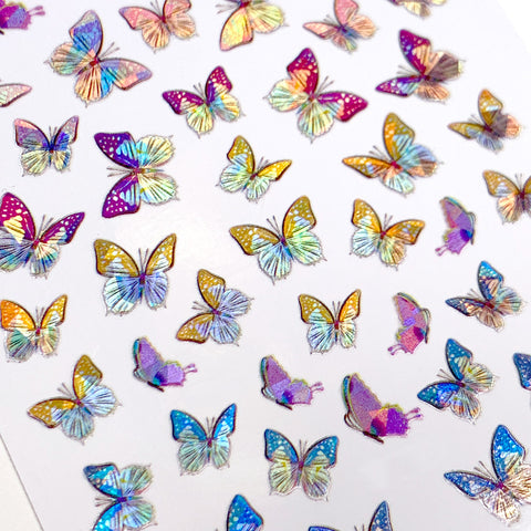 Holographic Butterfly Nail Art Sticker / Swallowtail Summer Spring
