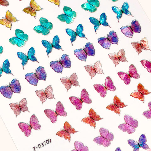 Holographic Butterfly Nail Art Sticker / Morpho Rainbow Gradient Spring
