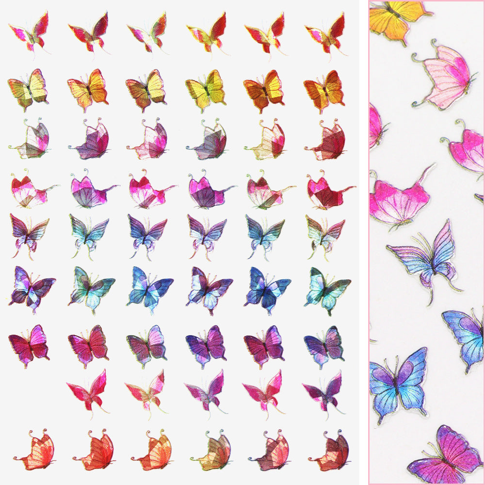 Holographic Butterfly Nail Art Sticker / Fairy Rainbow Spring Nail Art