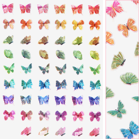 Holographic Butterfly Nail Art Sticker / Prismatic Rainbow Spring