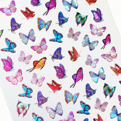 Holographic Butterfly Nail Art Sticker / Lilac Purple Spring