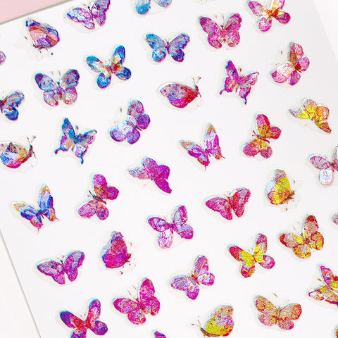 Holographic Butterfly Nail Art Sticker / Sunset Pink Orange Ombre Spring