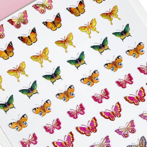 Holographic Butterfly Nail Art Sticker / Eclipse Red Gold