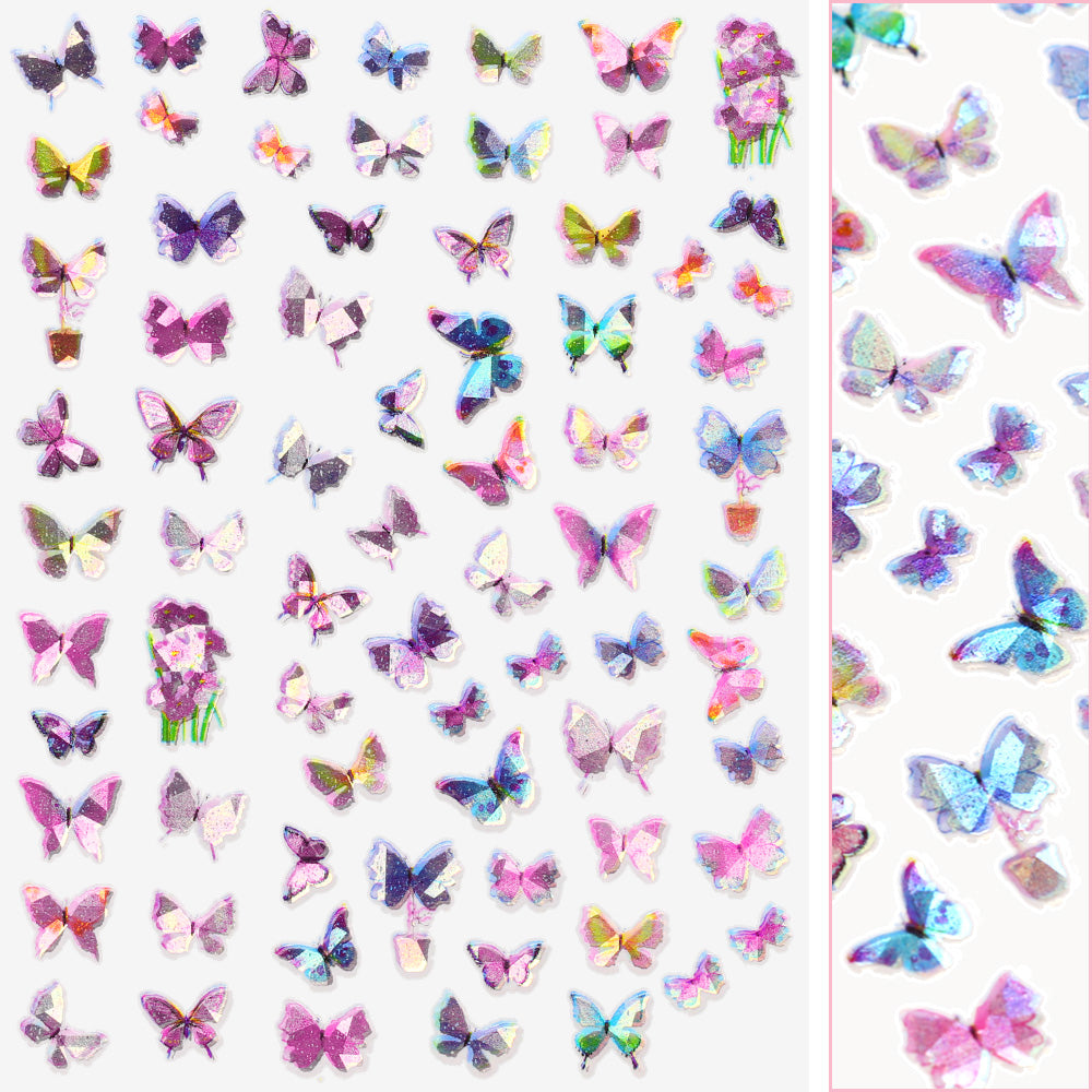 Holographic Butterfly Nail Art Sticker / Dreamy Pastel Pink Purple