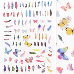 Daily Charme Trendy Butterfly Nail Art Sticker / Feather Floral Summer