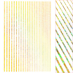 Daily Charme Thin Lines Nail Art Sticker / Holographic Gold Stripes