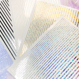 Daily Charme Thin Lines Nail Art Sticker / Holographic Silver Stripes