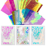 Aurora Film Flame Fire Nail Art Sticker Iridescent 16 Colors Pink Blue Holographic Gold Silver