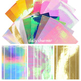Aurora Film Stripe Sticker Bundle / 16 Colors Rainbow Holo Gold Nails