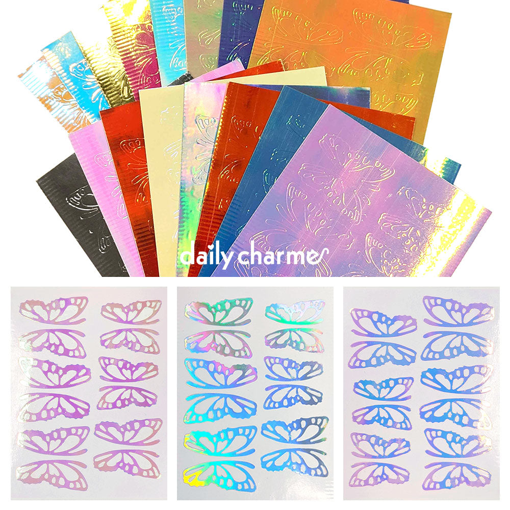 Daily Charme Nail Art Aurora Film Butterfly Wings Sticker / 16 Colors