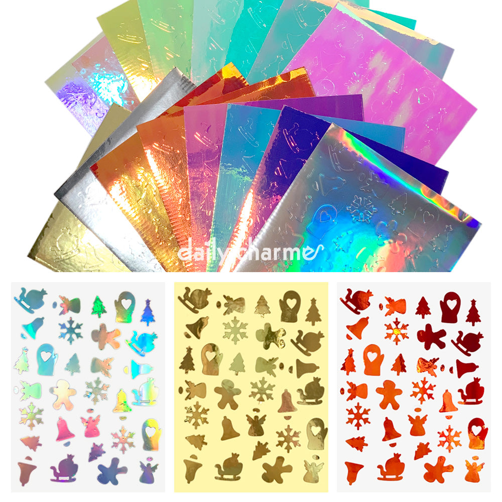 Aurora Film Holiday Sticker Bundle / 16 Colors Christmas Nail Art Angel Mitten Snowflake
