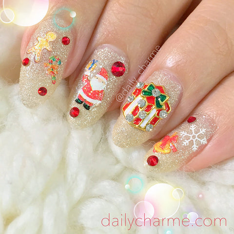 Daily Charme Nail Art Holiday Glitter Sticker - Santa & Gingerbread Man