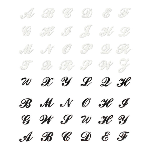 Nail Sticker - Cursive English Letters Daily Charme Black & White