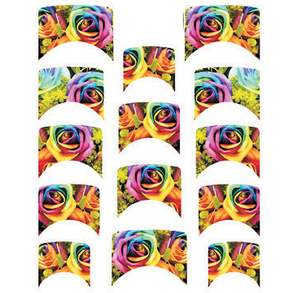 Daily Charme Water Transfer Nail Decal French Mani - Rainbow Roses