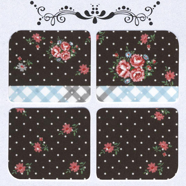 Daily Decals / Polka Dots & Flowers Over Black