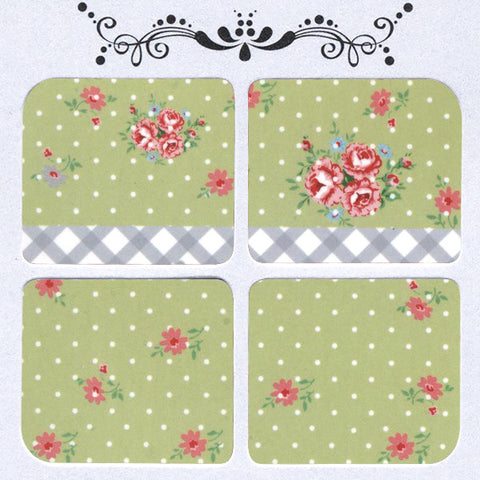 Daily Decals / Polka Dots & Flowers Over Green