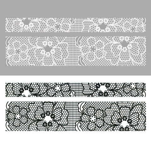Nail Art Water Sticker Sweet Decals - Floral Lace / Black & White