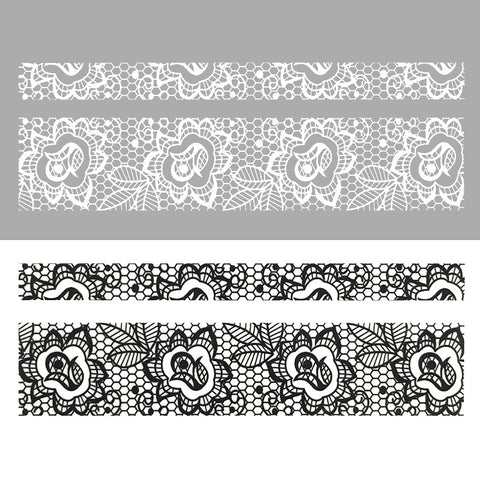 Nail Art Water Sticker Sweet Decals - Tulip Lace / Black & White