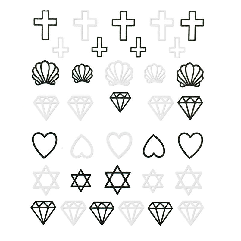 Nail Water Transfer Sticker Sweet Decals - Symbol Outlines Black & White