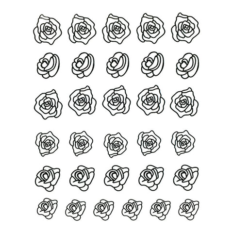 Nail Water Transfer Sticker Sweet Decals - Black Roses