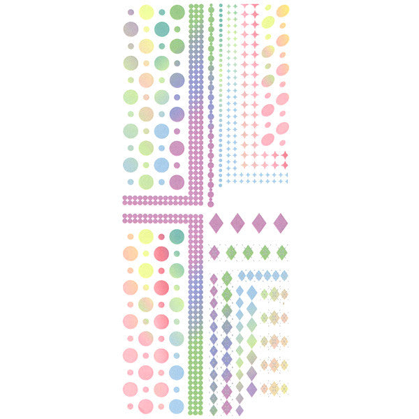 Daily Charme Nail Art Water Decals Dainty Decals - Rainbow Gradient Geometric Patterns