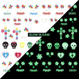 Nail Art Water Decals Sticker - Glow In Dark - Cinco de Mayo / White