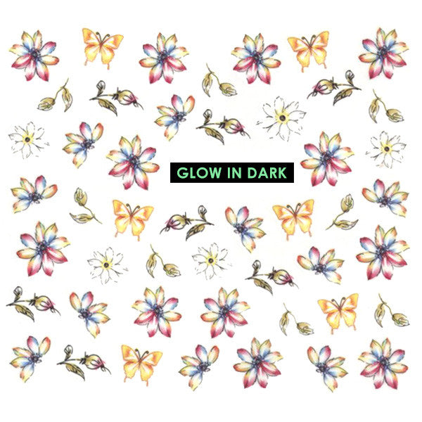 Nail Art Water Decals Sticker - Glow In Dark - Daisies