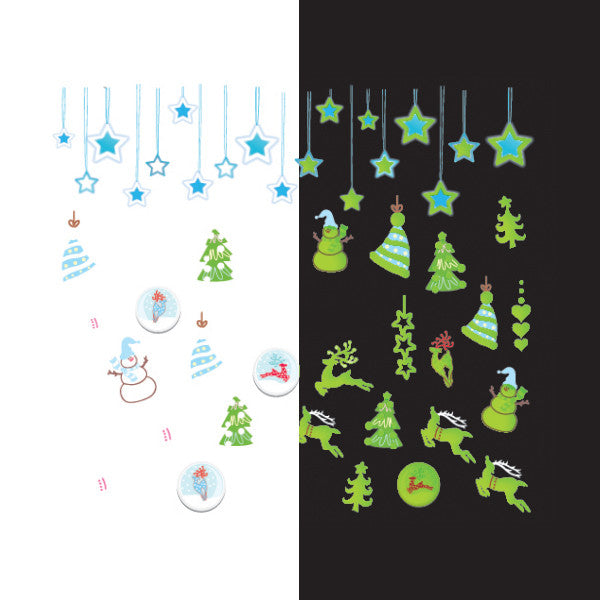 Daily Charme - Nail Art Water Decals Sticker - Glow In Dark - Snowy Christmas