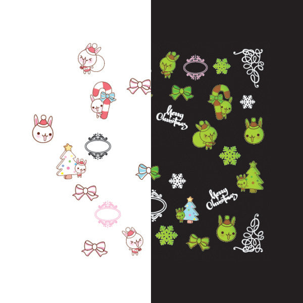 Daily Charme - Nail Art Water Decals Sticker - Glow In Dark - Kawaii Holiday Bunny