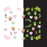 Daily Charme - Nail Art Water Decals Sticker - Glow In Dark - Lovely Santa