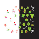 Daily Charme - Nail Art Water Decals Sticker - Glow In Dark - Snowman & Polar Bear