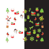 Daily Charme - Nail Art Water Decals Sticker - Glow In Dark - Santa's Sled