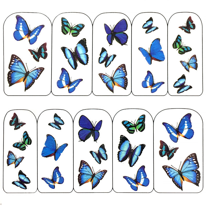 Nail Art Water Decals Sticker - Pop Decals - Butterflies / Blue