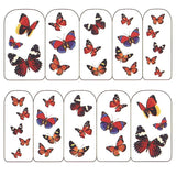 Nail Art Water Decals Sticker - Pop Decals - Butterflies / Red