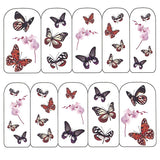 Nail Art Water Decals Sticker - Pop Decals - Butterflies & Orchid