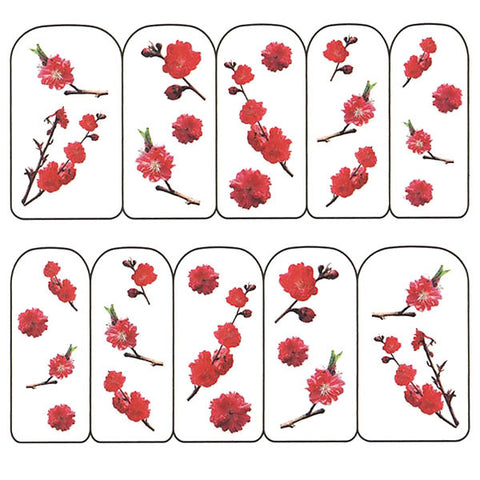 Nail Art Water Decals Sticker - Pop Decals - Red Blossoms