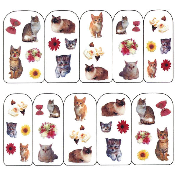 Nail Art Water Decals Sticker - Pop Decals - Cats & Flowers