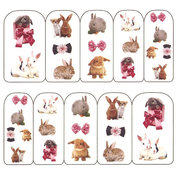 Nail Art Water Decals Sticker - Pop Decals - Ribbon Bunnies
