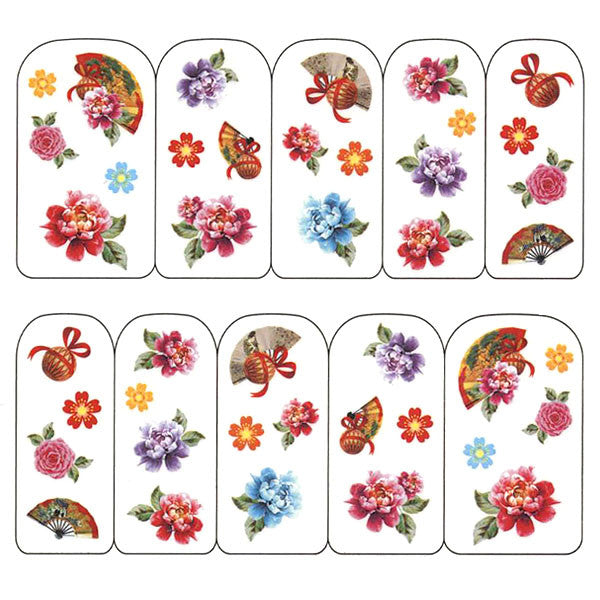Nail Art Water Decals Sticker - Pop Decals - Oriental Flowers