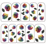 Nail Art Water Decals Sticker - Pop Decals - Roses / Rainbow