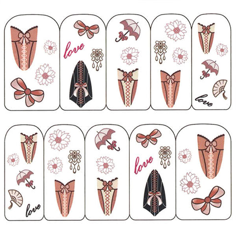 Nail Art Water Decals Sticker - Pop Decals - Victorian Corset