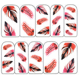 Nail Art Water Decals Sticker - Pop Decals - Feathers / Red